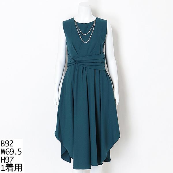 【大きいサイズ】Mint Souffle 2連パールネックレス付きセミロング丈ワンピース/ドリードール(Dorry Doll)