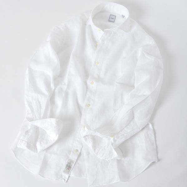 SD:【ALBINI】ウォッシュド リネン ソリッド ホリゾンタルカラーシャツ(ホワイト)/シップス(メンズ)(SHIPS)