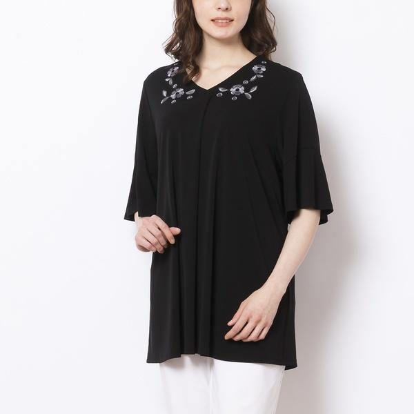 [LL~4L]クールスムース・刺繍デザインラッフル袖Tシャツ[接触冷感]/フィットミーモア(Fitme Moi)