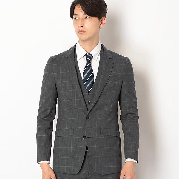 2釦スリーピーススーツ 0タック/グレー×ウィンドペン【SKINNY2】/スーツセレクト(メンズ)(SUIT SELECT)