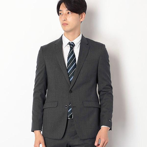 2釦シングルスーツ 0タック/グレーストライプ/ウォッシャブルパンツ【SLIM TAPERED2】/スーツセレクト(メンズ)(SUIT SELECT)