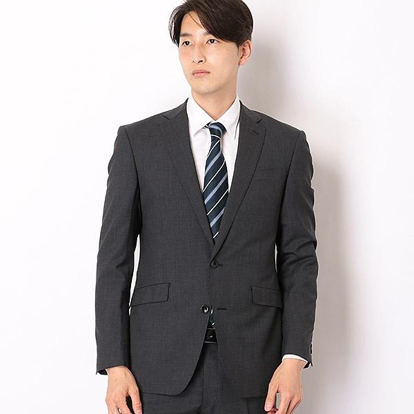 2釦シングルスーツ 0タック/グレー無地/SUPER TOUGH 100's 【KSW MODEL】/スーツセレクト(メンズ)(SUIT SELECT)
