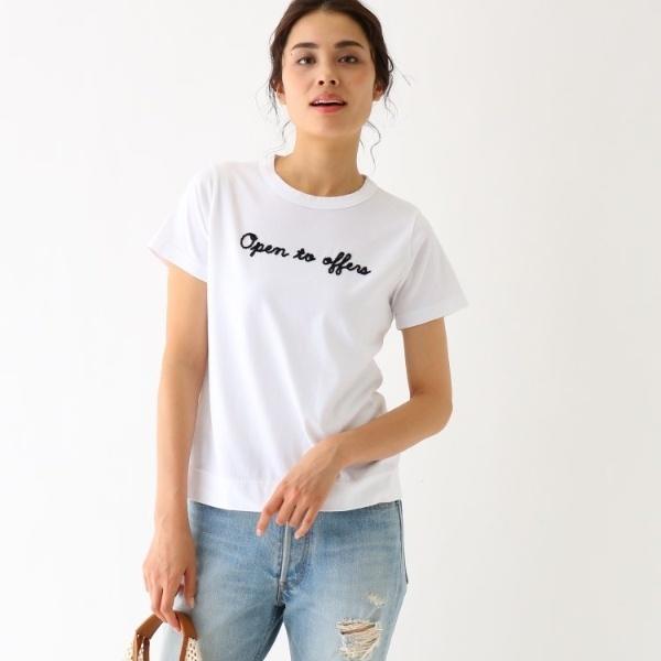 【別注】Tu es mon TRSOR ロゴモール刺しゅうTシャツ/アクアガール(aquagirl)