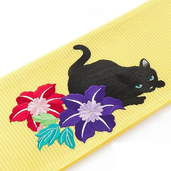 猫と鉄線(絽細帯)/撫松庵(BUSHOAN)