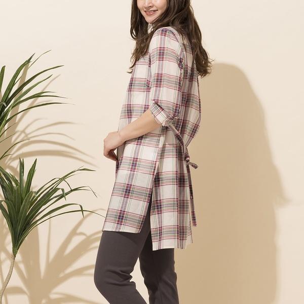 綿麻タータンチェックロングシャツ/ピサーノ(PISANO)