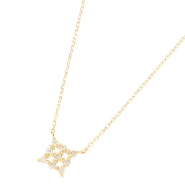 K18ダイヤモンド 伏せ込みスクエア ネックレス/ココシュニック(COCOSHNIK)