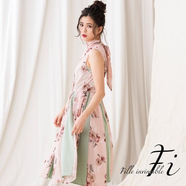 【結婚式・お呼ばれ・二次会・女子会・パーティー・対応ドレス】花柄プリントワンピースドレス/Fille invincible (ラブリークィーン)