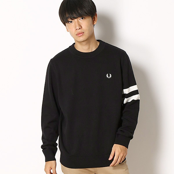 TIPPED SLEEVE CREW NECK JUMPER/フレッドペリー(メンズ)(FRED PERRY)