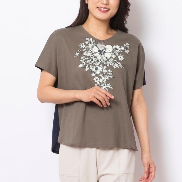 バイカラーフラワープリントTシャツ/ミゼール(MISSEL)