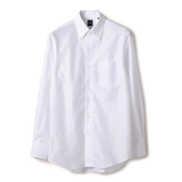 SD: 【MONTI社製生地】カラミ ソリッド イタリアンボタンダウンシャツ(ホワイト)/シップス(メンズ)(SHIPS)