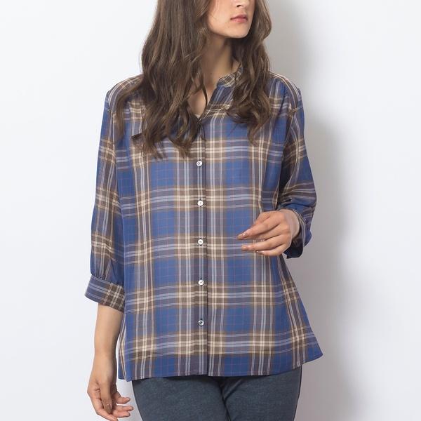 [大きいサイズ/L~LL]タータンチェック・スタンドカラーシャツ/ピサーノ(PISANO)