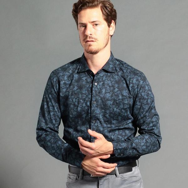 ボタニカルプリントセミワイドカラーシャツ/ムッシュニコル(MONSIEUR NICOLE)