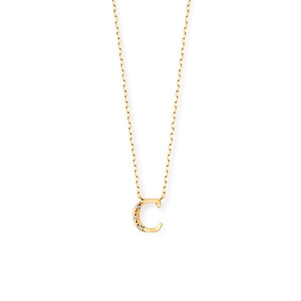 上品な K18 イエローゴールド ダイヤモンド イニシャル ネックレス(C)/エステール(ESTELLE), 楽しいインテリア北欧雑貨店 kakko 0fe9832c