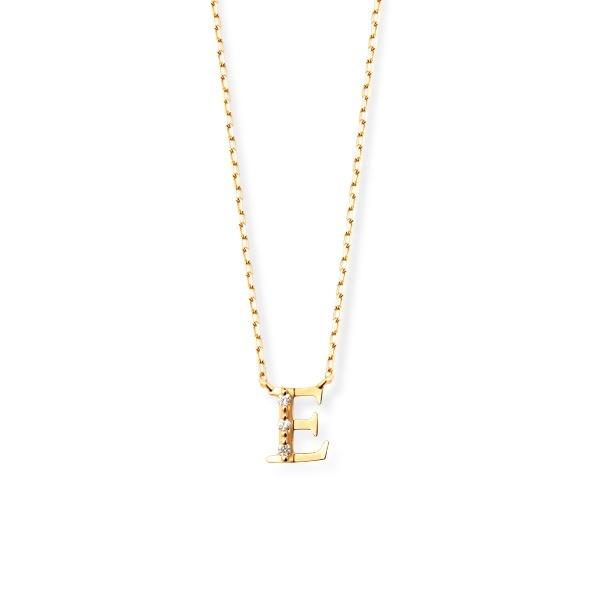 K18 イエローゴールド ダイヤモンド イニシャル ネックレス(E)/エステール(ESTELLE)