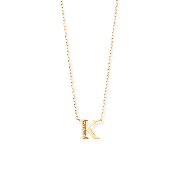 K18 イエローゴールド ダイヤモンド イニシャル ネックレス(K)/エステール(ESTELLE)