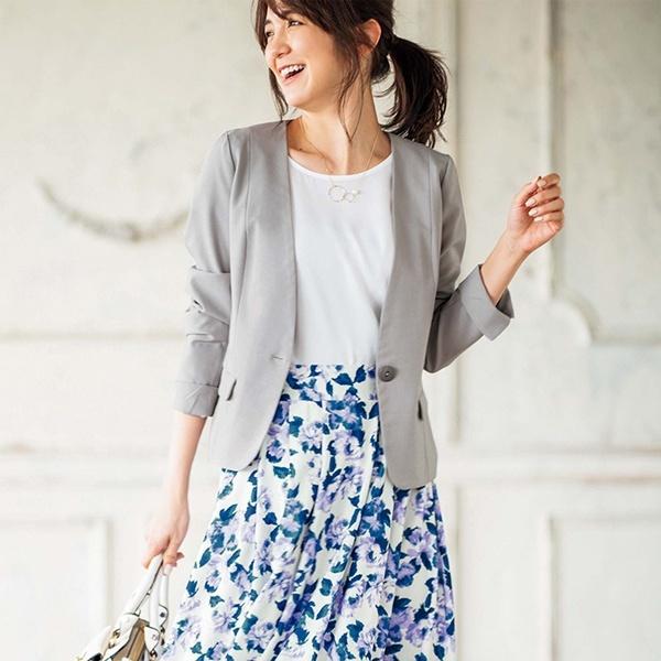 【2点セット】洗える!ジャケット&花柄スカートセットアップ/ジーラ バイ リュリュ(ファッション)(GeeRA (fashion))