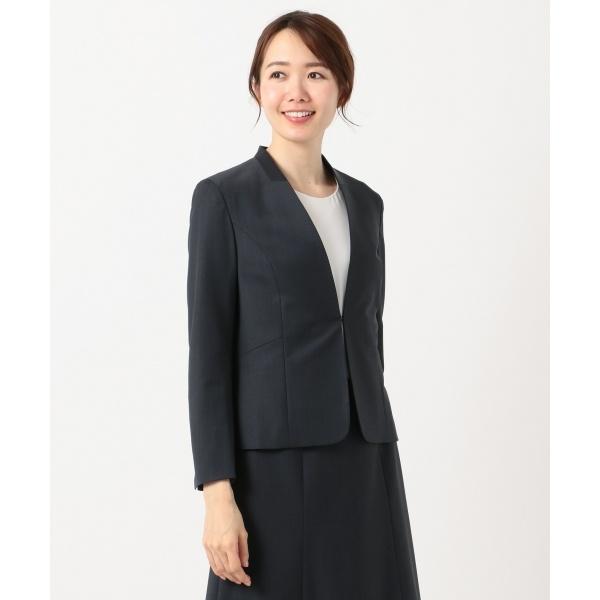 【スーツ対応】BAHARIYE ノーカラージャケット/ジェイ・プレス レディース L(J.PRESS LADIES L)