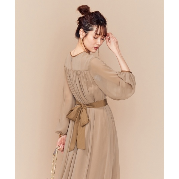 【PRIER】BIGリボンギャザーロングワンピース ドレス/組曲(KUMIKYOKU)