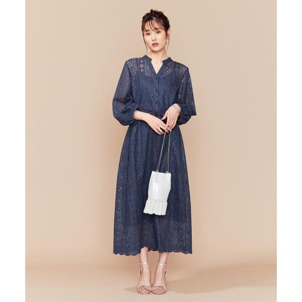 【PRIER】前あきレースロングワンピース ドレス/組曲 S(KUMIKYOKU S)