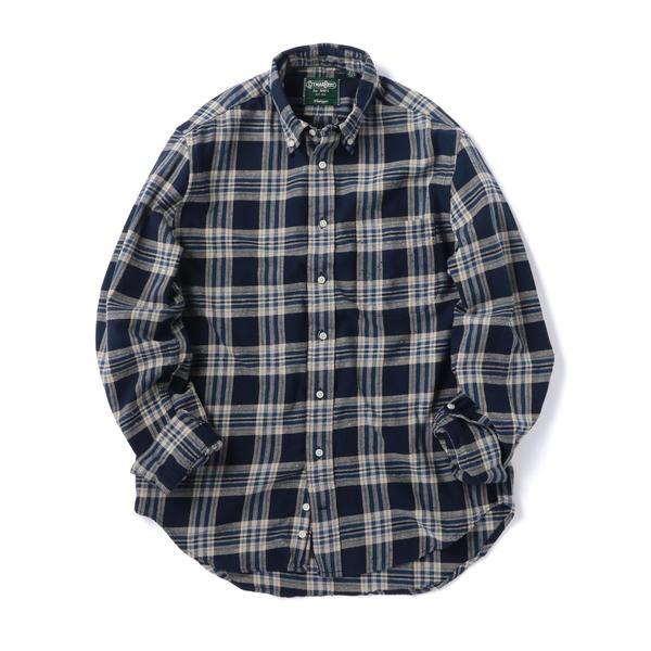 GITMAN VINTAGE: ブルーチェック ボタンダウン ネルシャツ/シップス(メンズ)(SHIPS)