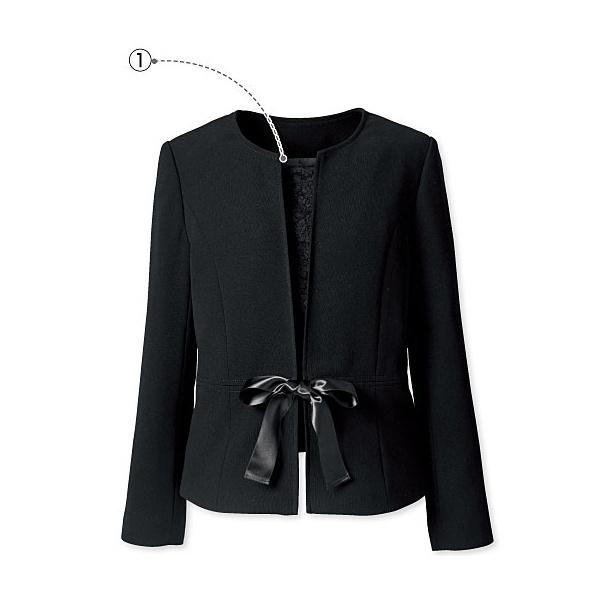 ノーカラージャケット(胸当て・リボン・ボタン付き)(大きいサイズ)/プランプ(plump)