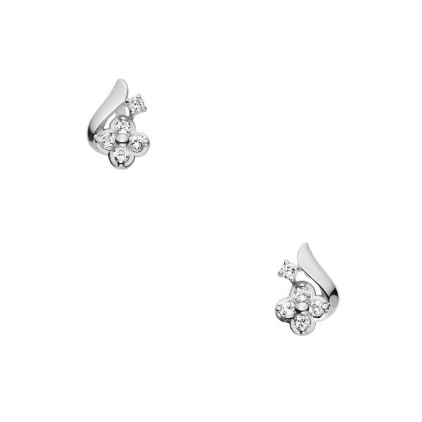 K10WG ホワイトトパーズ ダイヤモンド フラワーピアス/VA ヴァンドーム青山(VAvendomeaoyama)「不良品のみ返品を承ります」