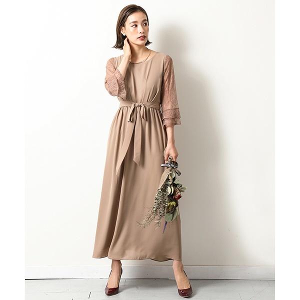 袖レースロングワンピースドレス/カナ(kana)