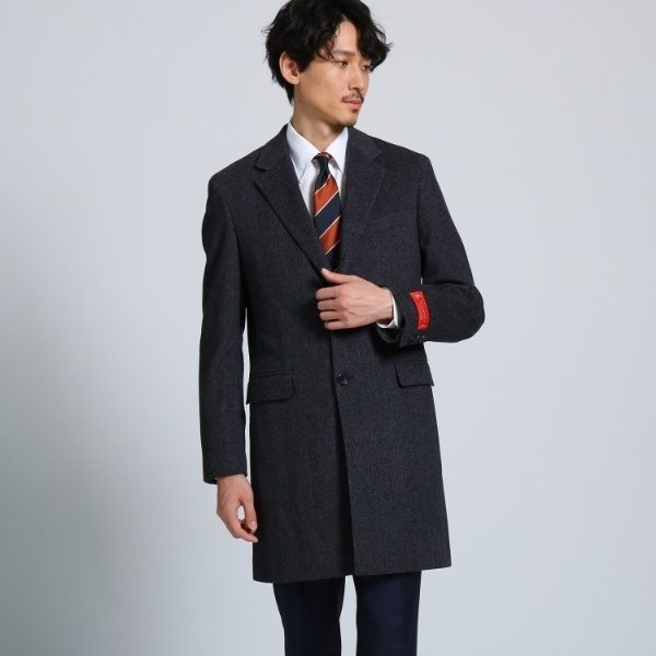 ウールカシミアヘリンボンチェスターコート Fabric by PIACENZA/タケオキクチ(TAKEO KIKUCHI)