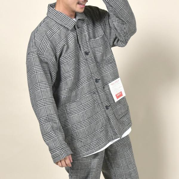 MACOBER×SHIPS ウール カバーオールジャケット グレンチェック/シップス(メンズ)(SHIPS)