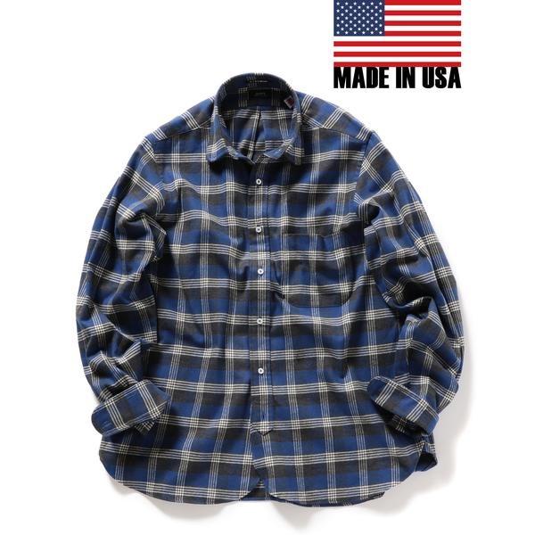 SHIPS×IKE BEHAR: アメリカ製 ブルーチェック ラウンドカラー ネルシャツ/シップス(メンズ)(SHIPS)