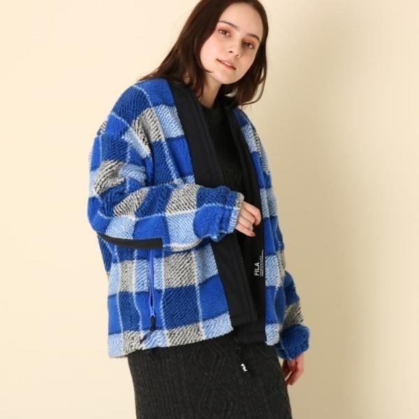 【WEB限定販売】FILA(フィラ)ジップアップチェックボアブルゾン/クチュールブローチ(Couture Brooch)