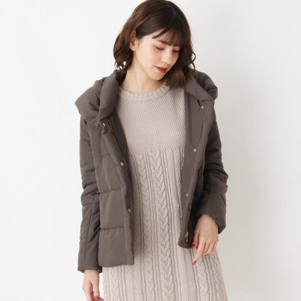 【2点セット】中綿ジャケット+ケーブルニットワンピースセット/グローブ(grove)