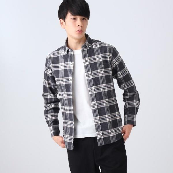 丸衿ビエラフランネルチェックシャツ/ドレステリア(メンズ)(DRESSTERIOR Mens)