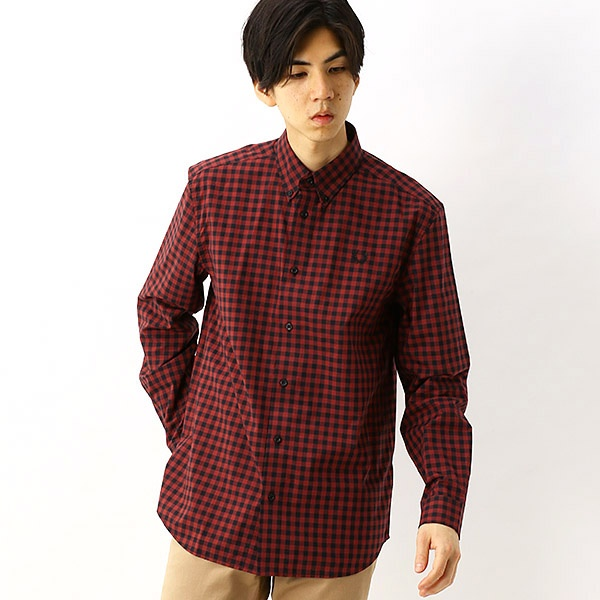 【S20】2 COLOUR GINGHAM SHIRT/フレッドペリー(メンズ)(FRED PERRY)