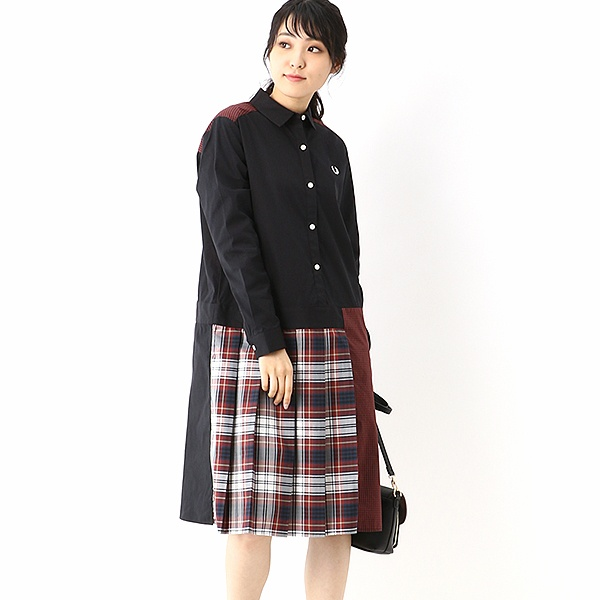 【S20】MIX PANELLED SHIRT DRESS/フレッドペリー(レディス)(FRED PERRY)