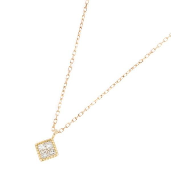 K18ダイヤモンド ミステリーセッティング ひし形ネックレス/ココシュニック(COCOSHNIK)