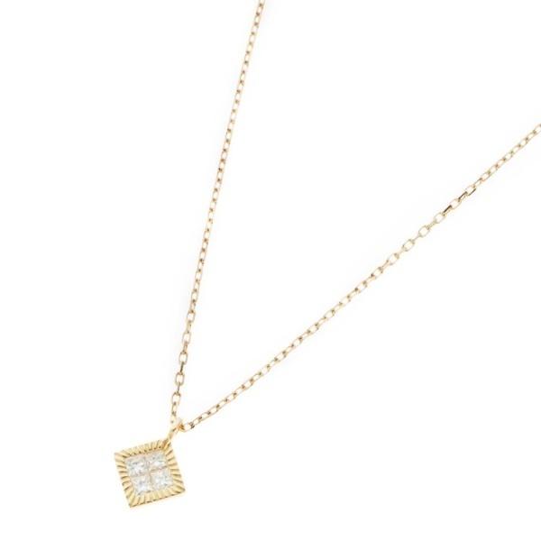 K18ダイヤモンド ミステリーセッティング ひし形ベゼルネックレス/ココシュニック(COCOSHNIK)