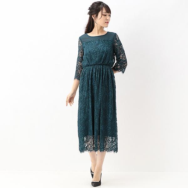 レースミディ袖付きドレス(結婚式/二次会/謝恩会/パーティー)/エー・アール アザレアローズ(A・R Azalea Rose)