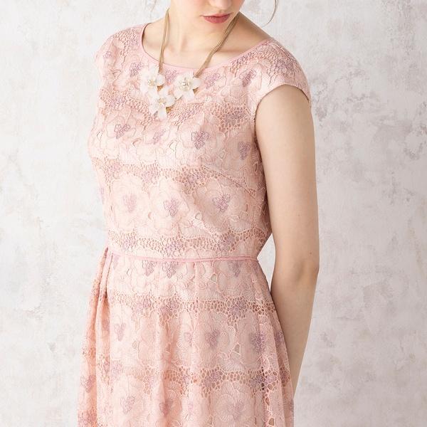 オーガンジーフラワー刺繍ワンピース/ローズティアラ(Rose Tiara)