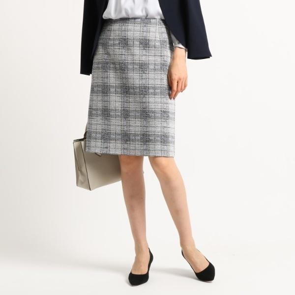 [S]【ママスーツ入学式 スーツ卒業式 スーツ】ツイードチェックタイトスカート/インディヴィ(INDIVI)
