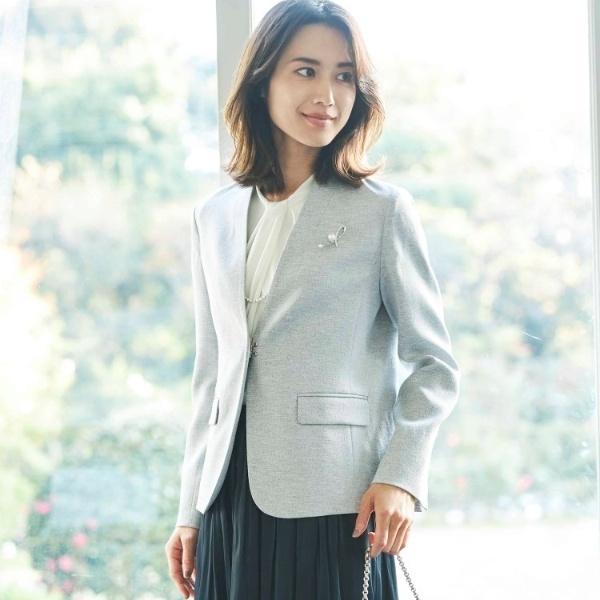 【ママスーツ入学式 スーツ卒業式 スーツ】カラーレスジャケット/アクアガール(aquagirl)