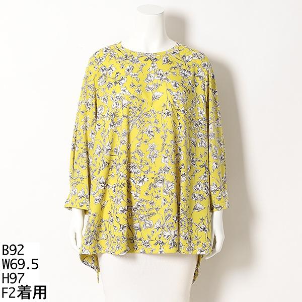 【大きいサイズ】フラワープリント裾フレアブラウス/アルディラ(AL・DI・LA)