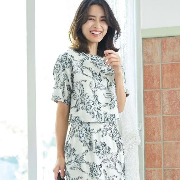 【ママスーツ入学式 スーツ卒業式 スーツ】カットジャガードシャツ/アクアガール(aquagirl)