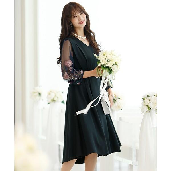 エンブロイダリースリーブワンピース・結婚式ドレス・お呼ばれパーティードレス/プールヴー(PourVous)