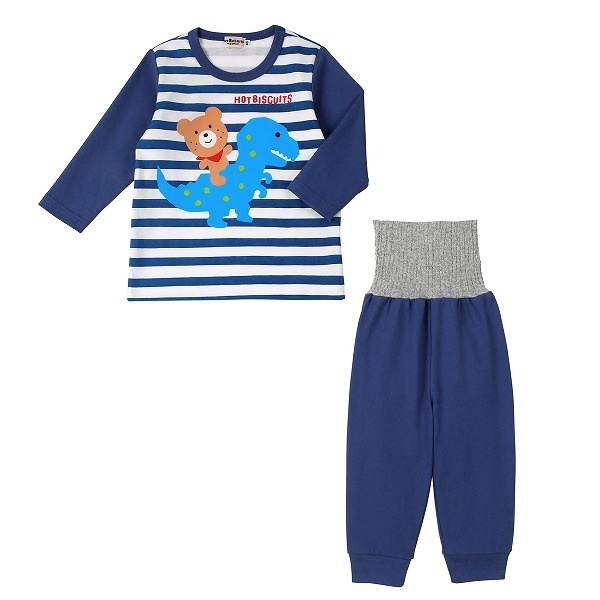 爆売り パジャマ ルームウェア かぶり 長袖 上質 ミキハウス 10分丈 ホットビスケッツ ボーダー×恐竜