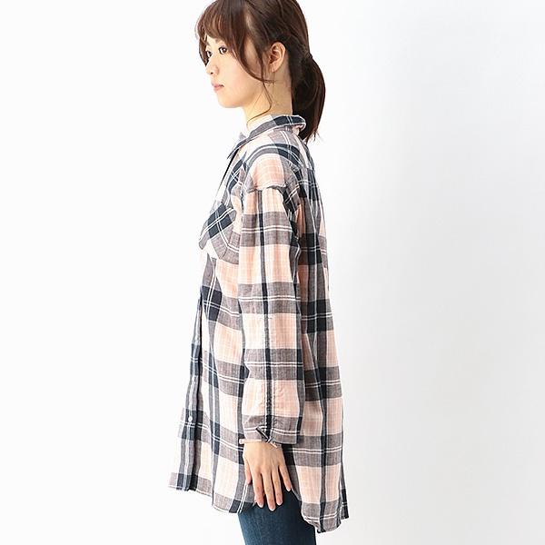 SALE綿100% ダブルガーゼチェックシャツ メイクビー makeB8N0wOmnv