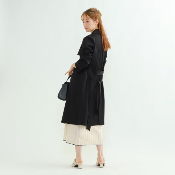 【ハンドウォッシュ】サッシュベルト付きプレーントレンチコート/インディヴィ(INDIVI)
