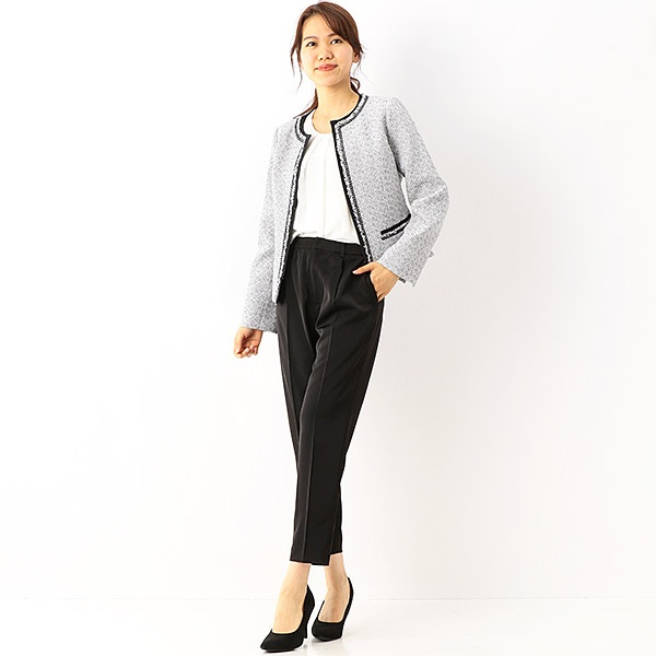 ツィードジャケット+ブラウス+パンツ スーツ3点セット 入園/入学/卒園/卒業/式/結婚式/二次会/ピンクス(Pin'x)