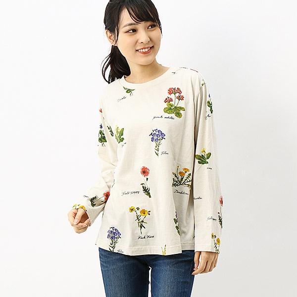 野の花図鑑プリントカットソー(花柄)/スーパーハッカ(SUPER HAKKA)