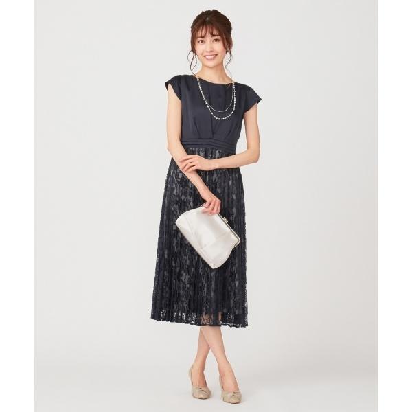 【洗える】フルールレースプリーツ ドレス/エニィスィス Sサイズ(any SiS S)